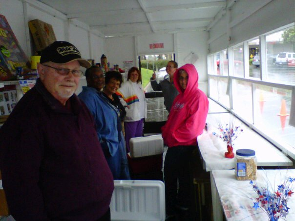 photo of Staying dry during opening day rainstorm (2011)