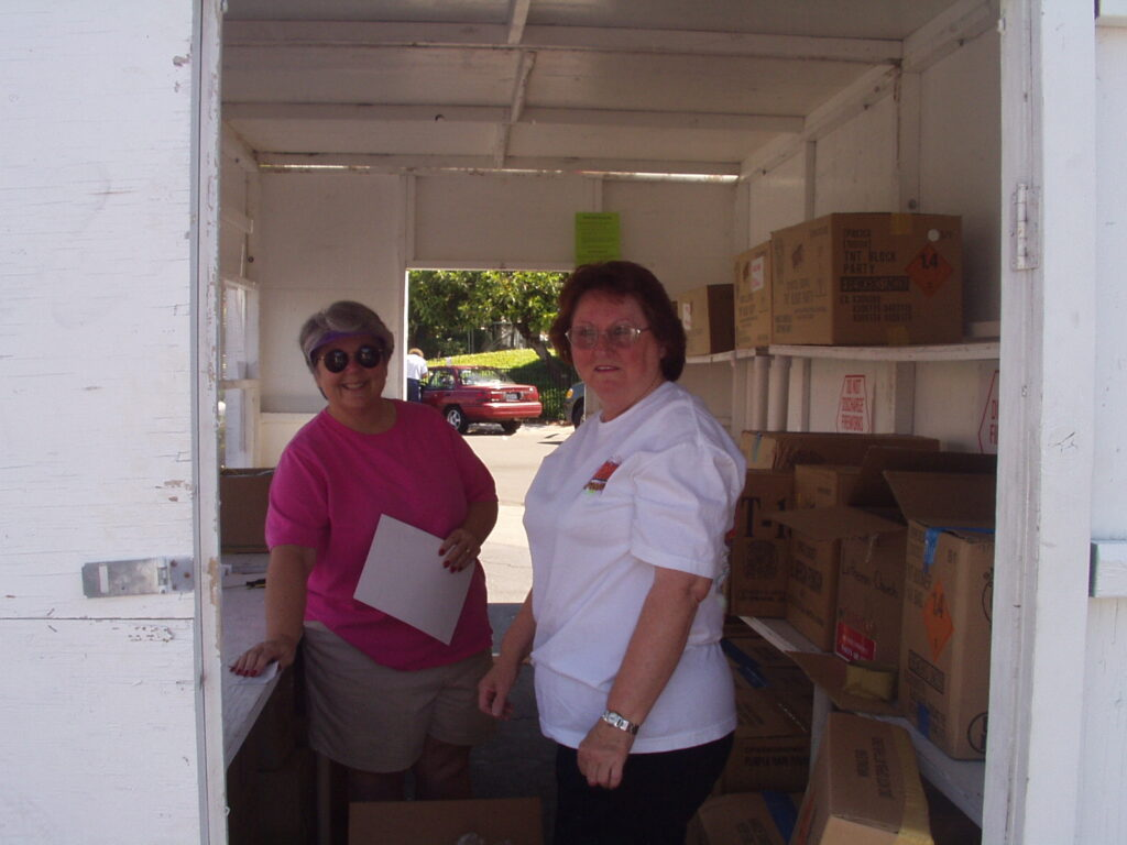 photo of Dorothy and Peggy getting us organized (2003)