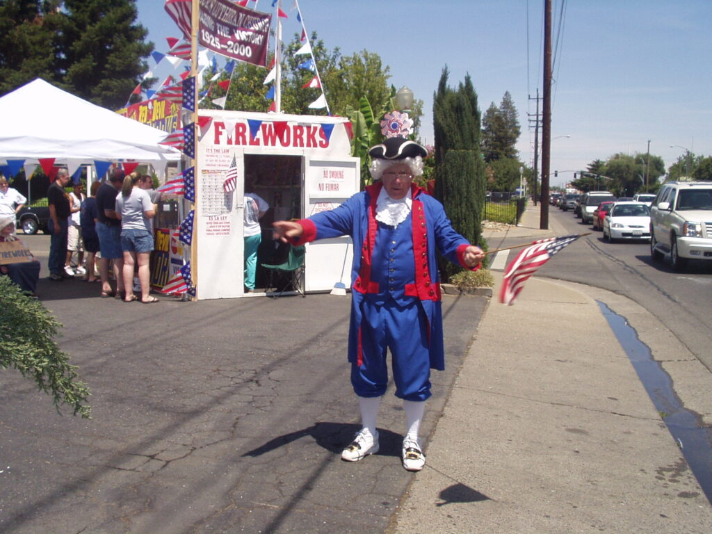 photo of Uncle Sam visiting the booth (2004)